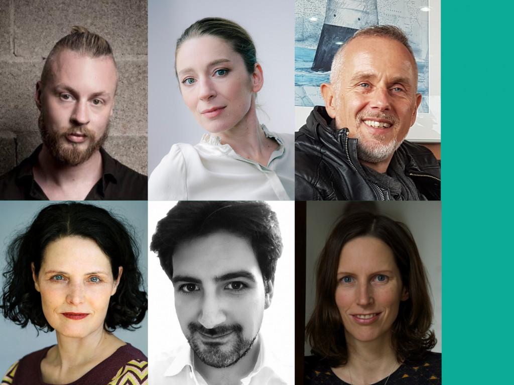 Die Jury und Moderation für die Jurydebatte zum Mülheimer Dramatikpreis 2021 / Grafik: Katharina Krüger