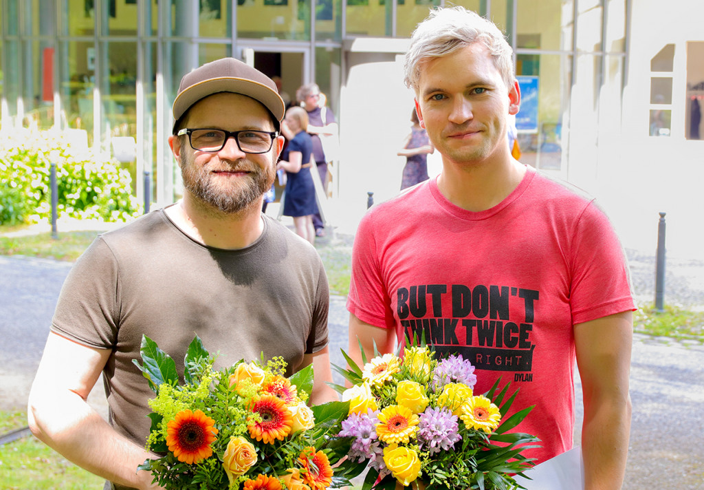 Die Preisträger Kristo Šagoragor und Thomas Köck / Foto: Marie-Luise Eberhardt