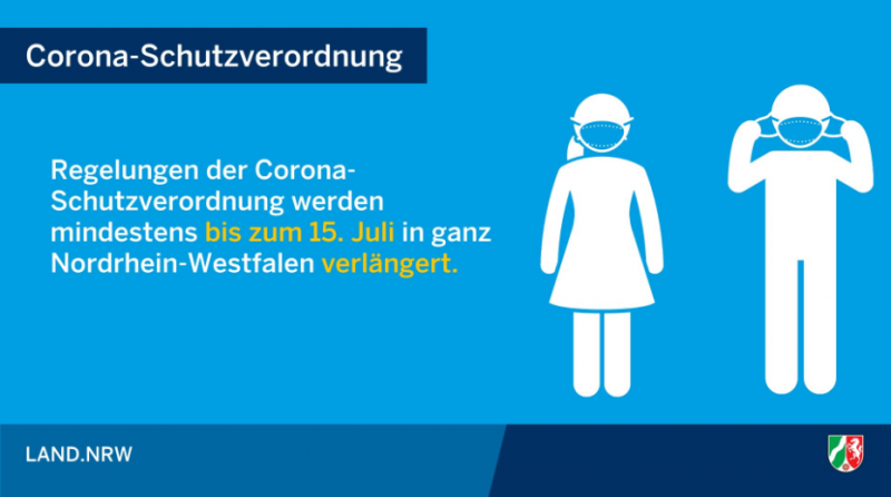 Bild von der Corona Seite des Landes NRW zur Verlängerung der Maskenpflicht bis 15. Juli 2020