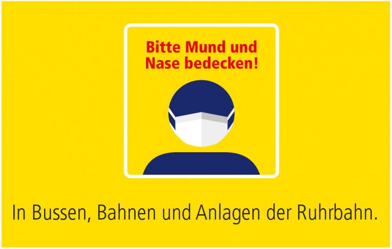 Maskenpflicht in der Corona-Krise: MNS muss auch in Bussen, Bahnen und Anlagen der Ruhrbahn getragen werden. Das Gif zeigt eine Figur mit Maske und dem zusätzlichen Text: Bitte Mund und Nase bedecken!