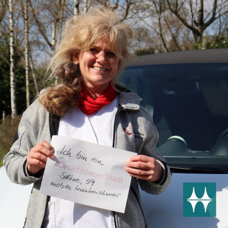 Sabine, mobile Krankenschwester, ist ein Gesicht dieser Stadt